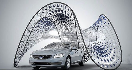Design concept for the Volvo V60 solar pavilion