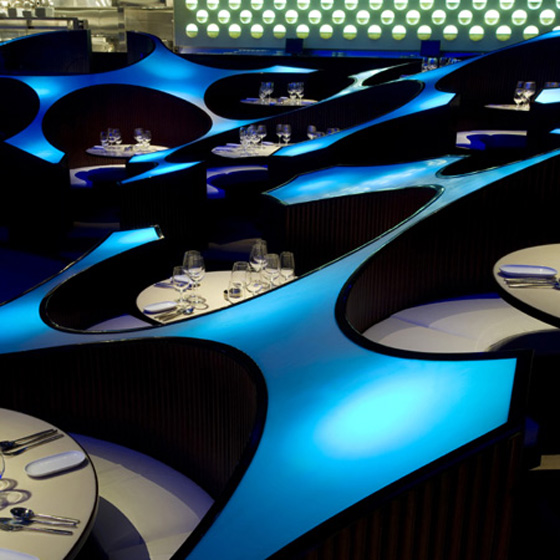 Lighting Enhances the Blue Frog Lounge
