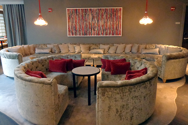 """A modern hotel """"living room"""" at the Virgin Hotel in Chicago."""