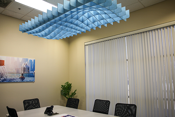 Hatch Rectangle Surge acoustical ceiling net cloud in conference room